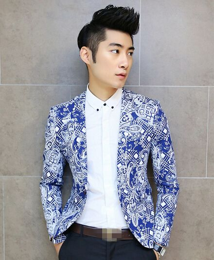 99f8f4950 $67.14 -- Mens Blazers Korean Men Blazer Blue Floral Printing Ball ...