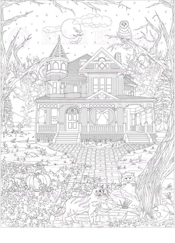 Adult Coloring Page, Coloring pages, Digital Download, Haunted ...