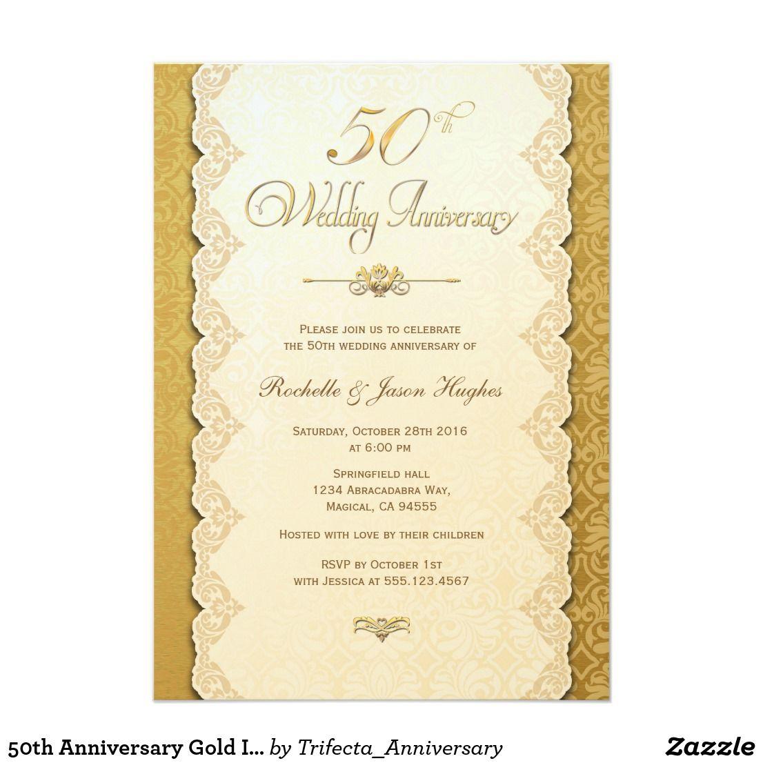 50th Anniversary Gold Invitation | Gold invitations, Elegant wedding ...