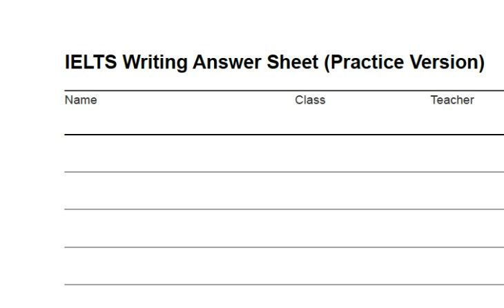 IELTS Writing Answer Sheet: Download as PDF | Ielts writing, Ielts ...