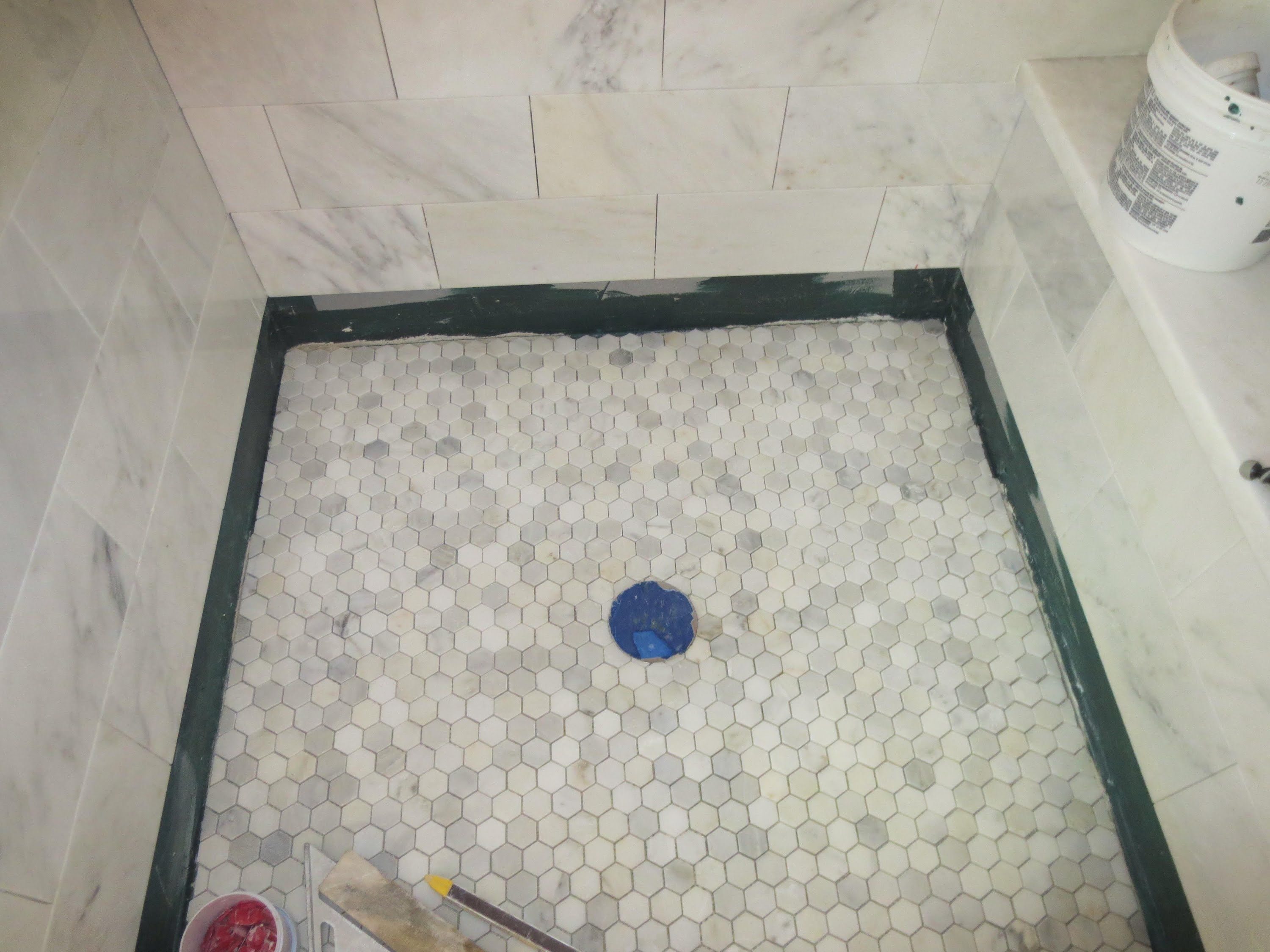 Marble carrara tile bathroom part 5 installing the shower floor marble carrara tile bathroom part 5 installing the shower floor dailygadgetfo Gallery