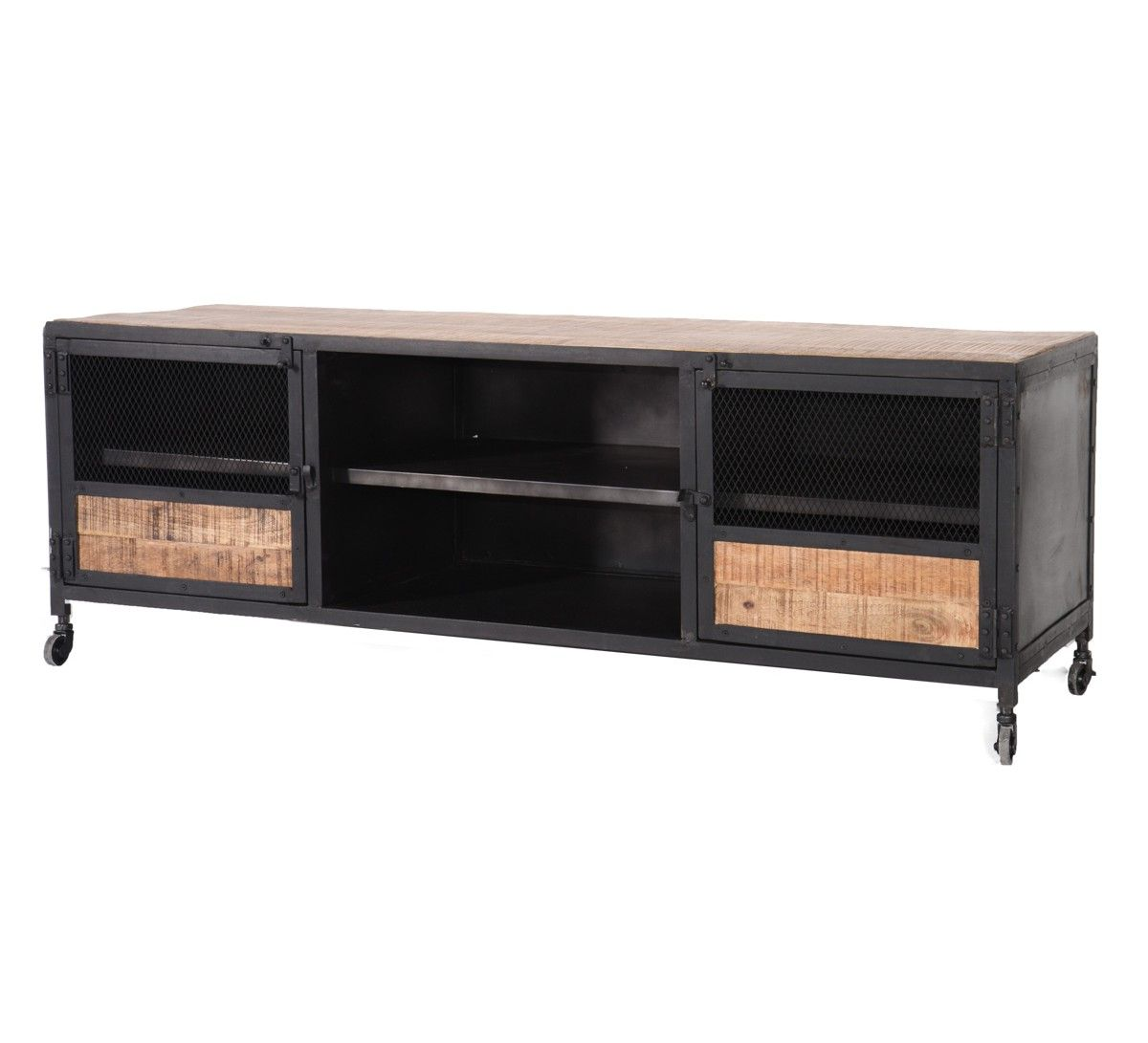 Meuble Tv M Tal Et Bois 160 Atelier Salon Deco Pinterest  # Meuble Tv Industriel Loft