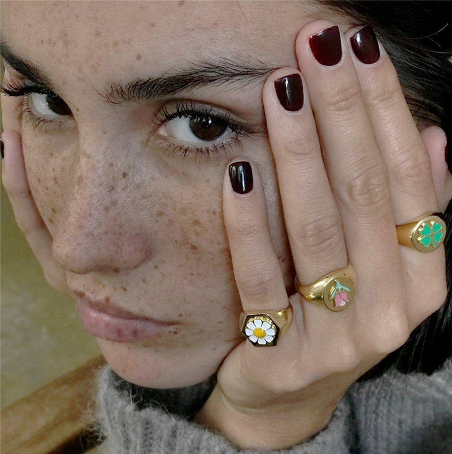 Daisy Ring Tulip Ring Gold Clover Ring Gold Ring C