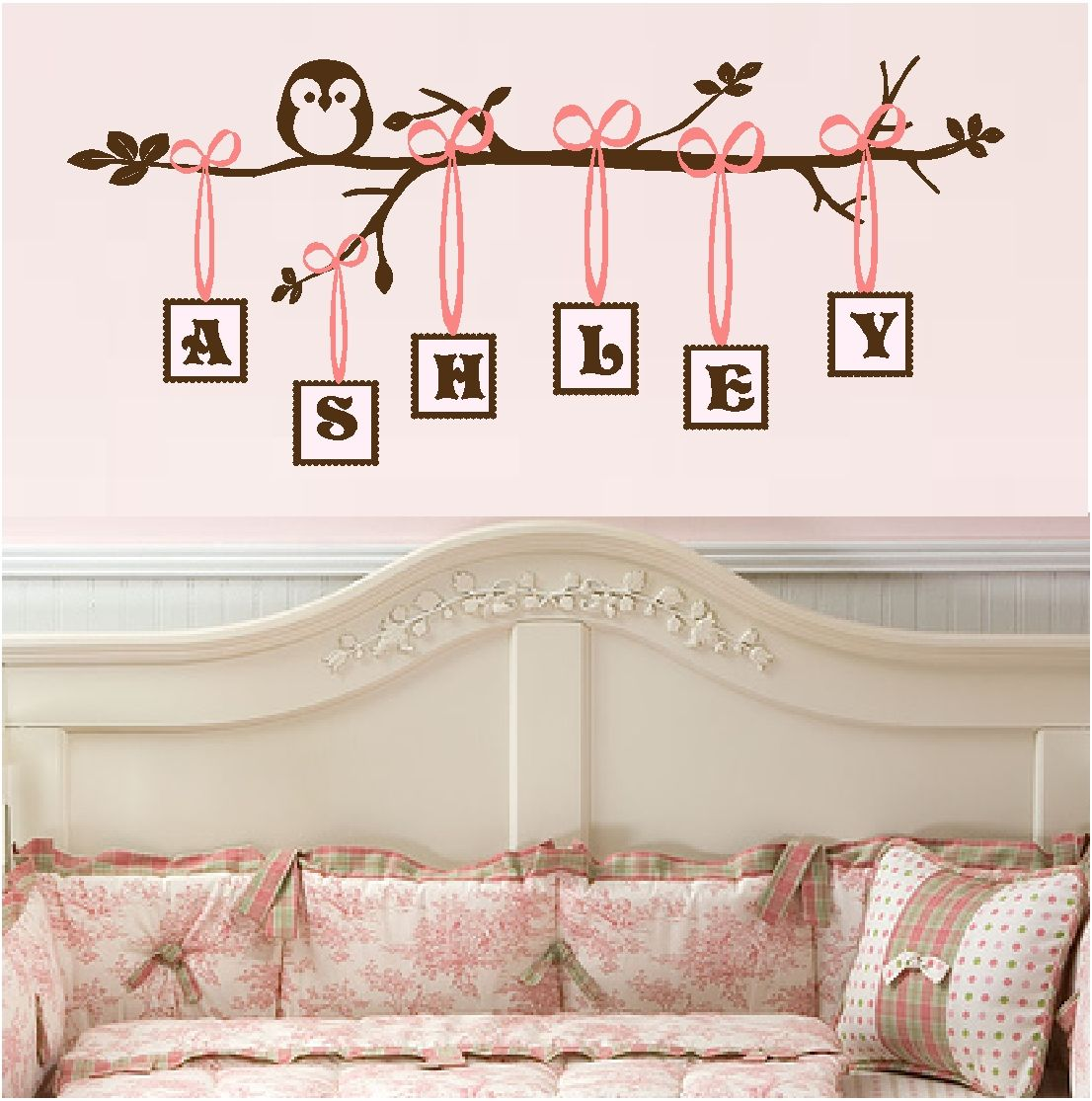 Cute Owl Wall Decoration I Especially Like The Name On The Wall - Wall decals baby girl