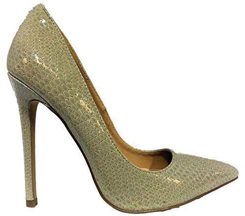 a77c91b028c0 Shoe Republic Nimo Shiny Snake Print Pointed Toe Stiletto High Heel Slip On Pump  Shoes Gray