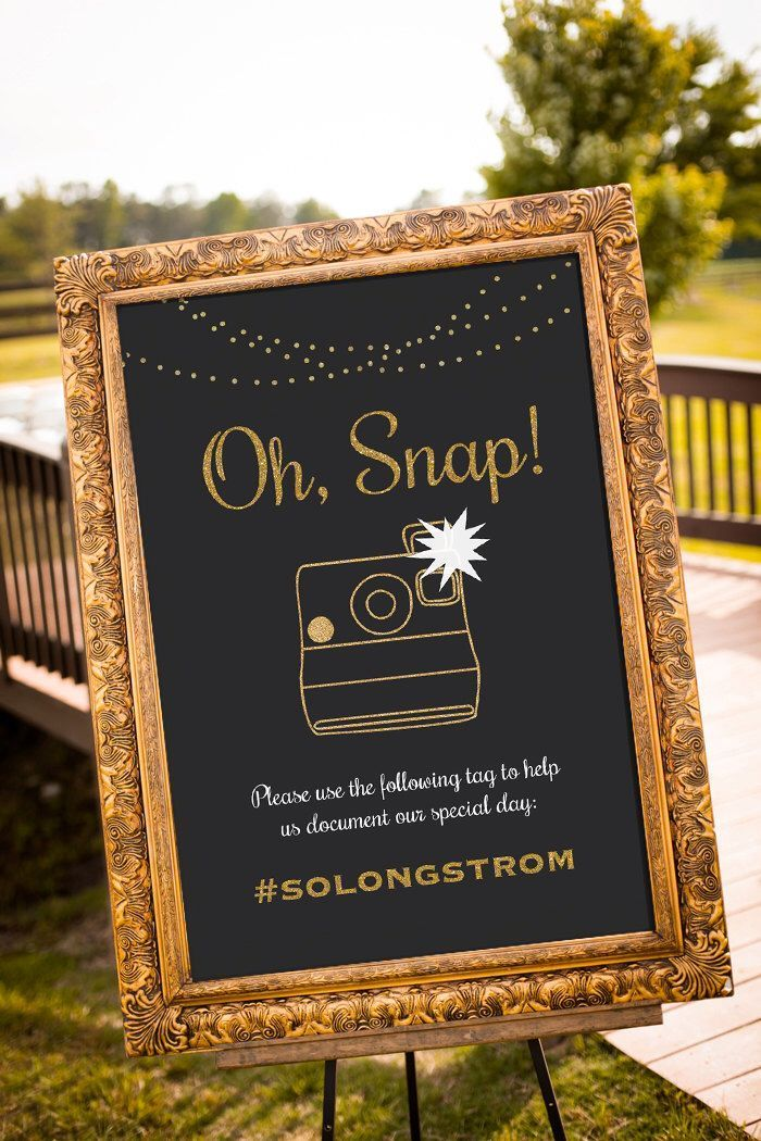 PRINTABLE Wedding hashtag sign, Black and Gold Decor