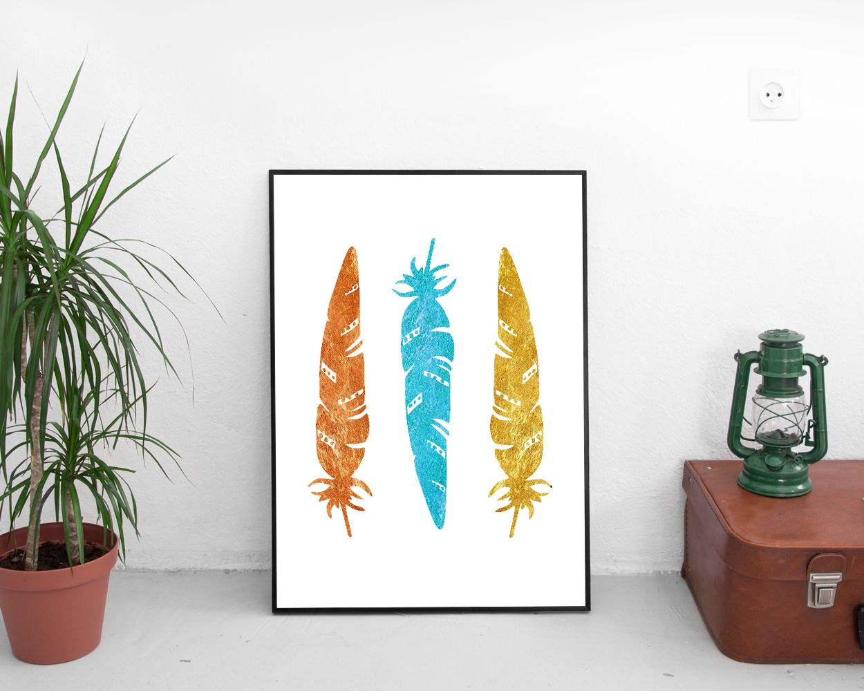 Tribal feathers tribal art print nursery tribal blue gold coral