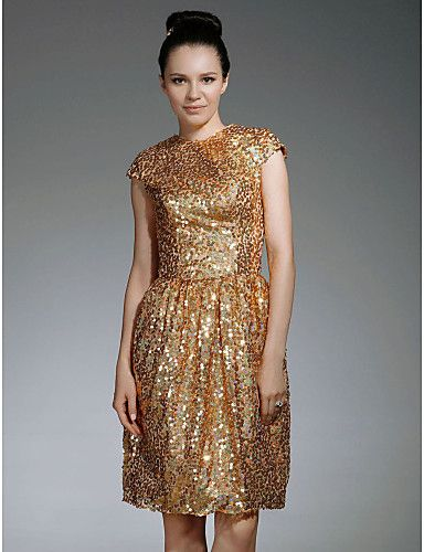 Sequin Fabric Sheath/ Column Jewel Neckline Knee-length Cocktail ...