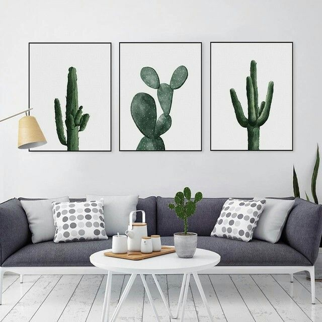 Nordic Watercolor Green Cactus Plant Poster Print Hipster