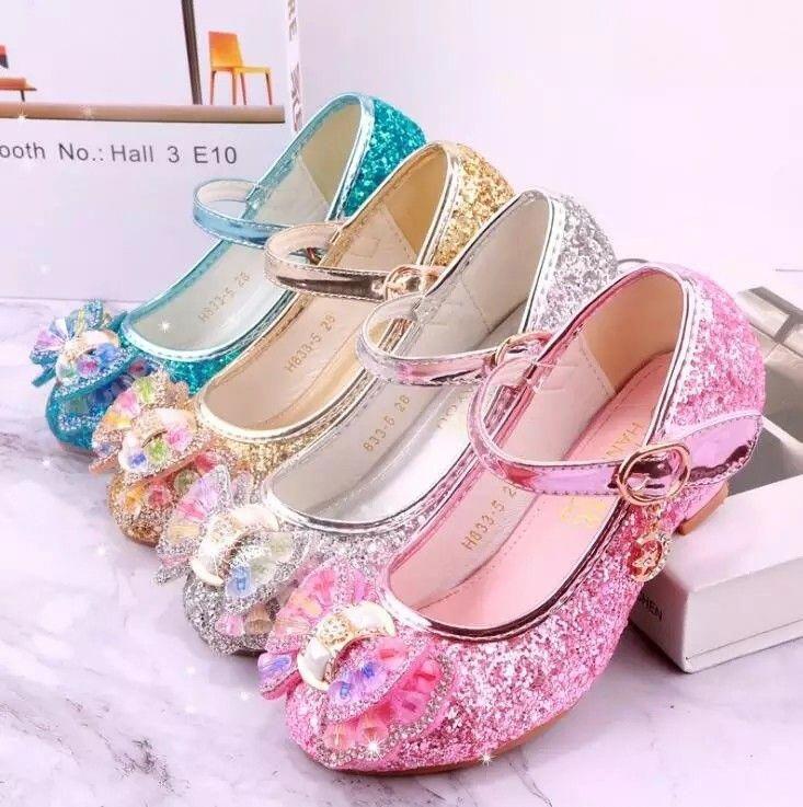 Blue Glitter Toddler Girls Maryjane Heel Shoes. Girls