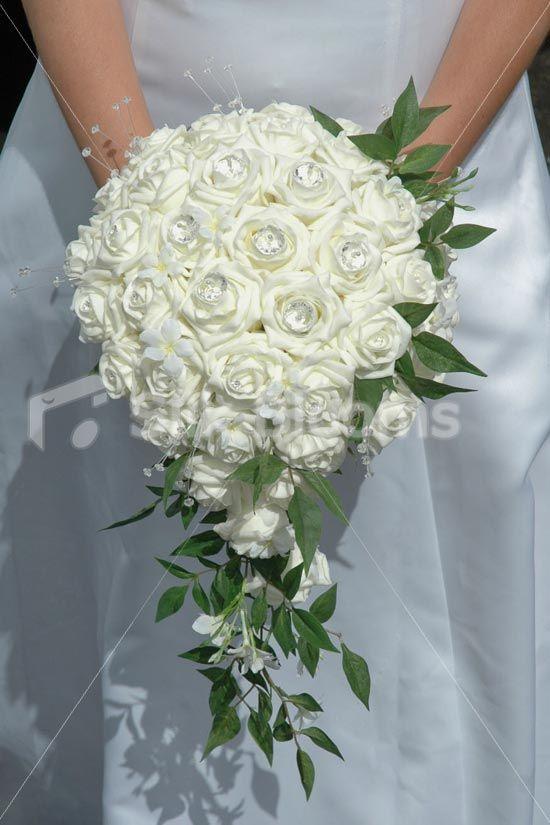 Gorgeous Ivory Rose And Jasmine Teardrop Wedding Bouquet Wedding Flowers Bridal Bouquets Silk Flower Wedding Bouquet Flower Bouquet Wedding