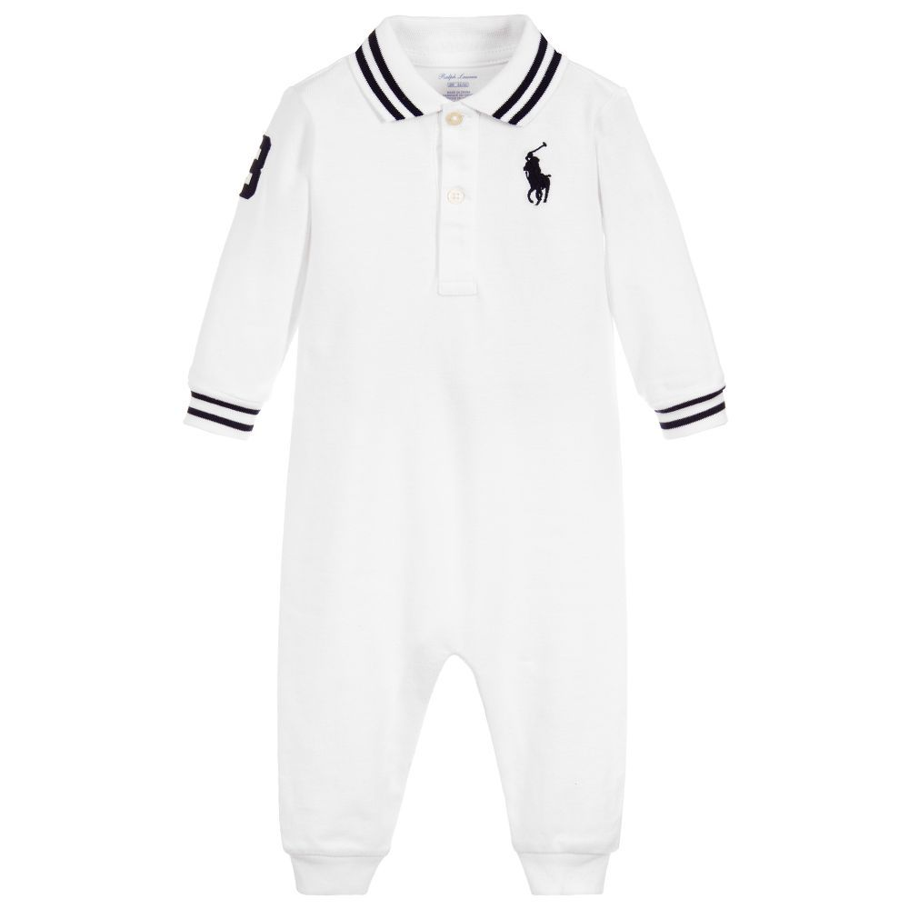 d5c47f32a White romper for baby boys by Ralph Lauren