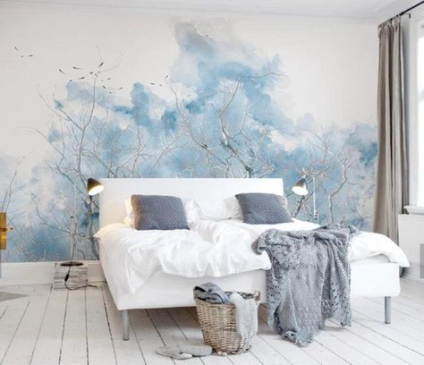 3D Watercolor, Smudge, Winter, Branch Wallpaper, Removable Self Adhesive Wallpaper, Wall Mural,Vinta