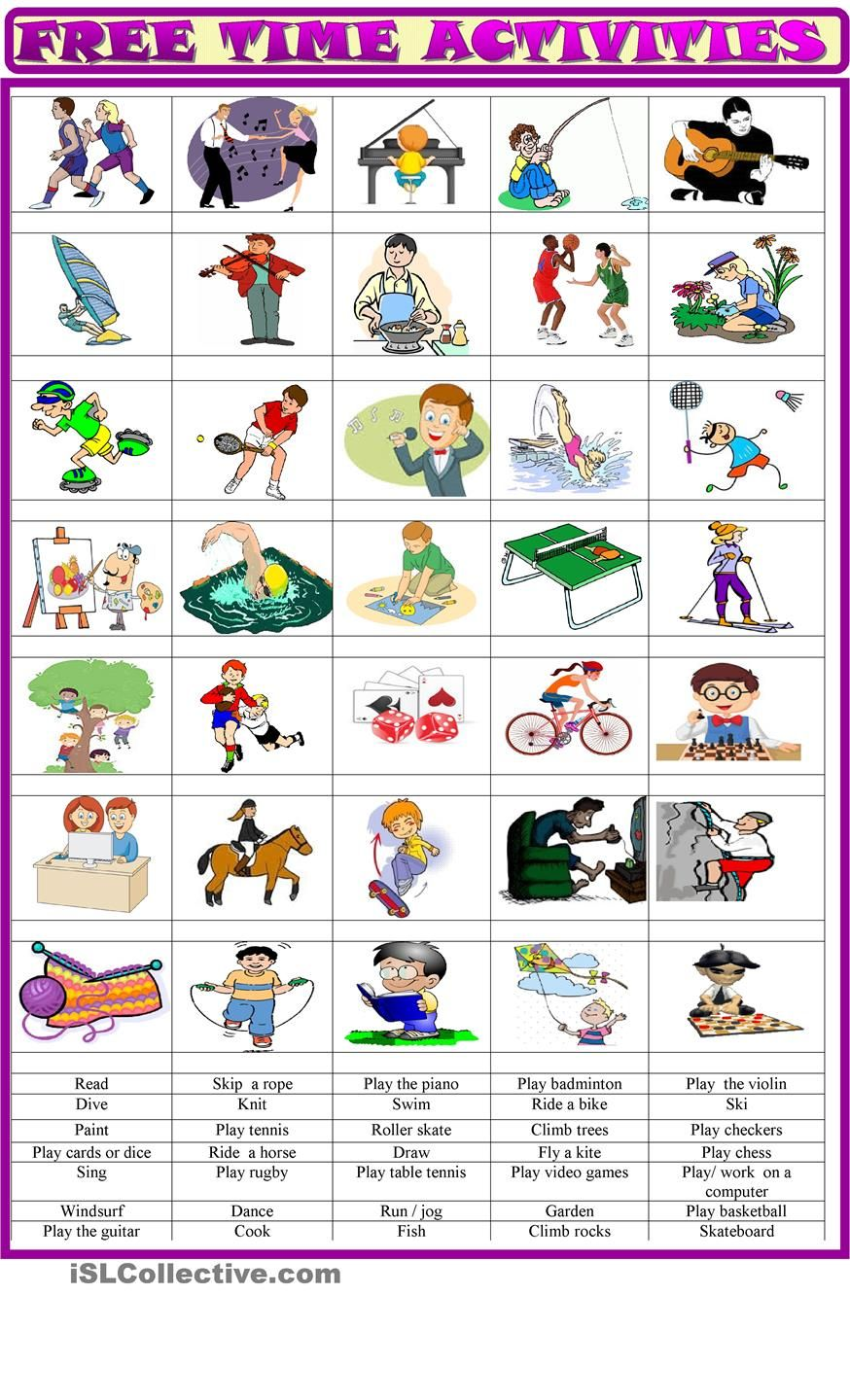 Free Time Activities Matching Ex Esl Pinterest Activities