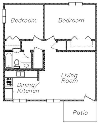 2 bedroom 2 bath cottage plans gateway at college station floor plan 2 - 2 Bedroom House Plans