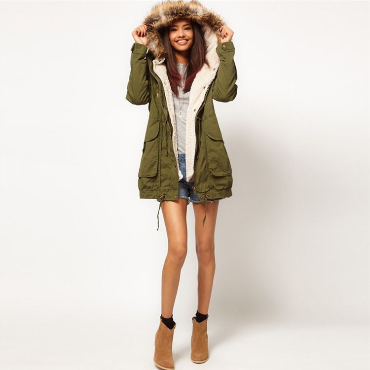Womens green parka with fur hood