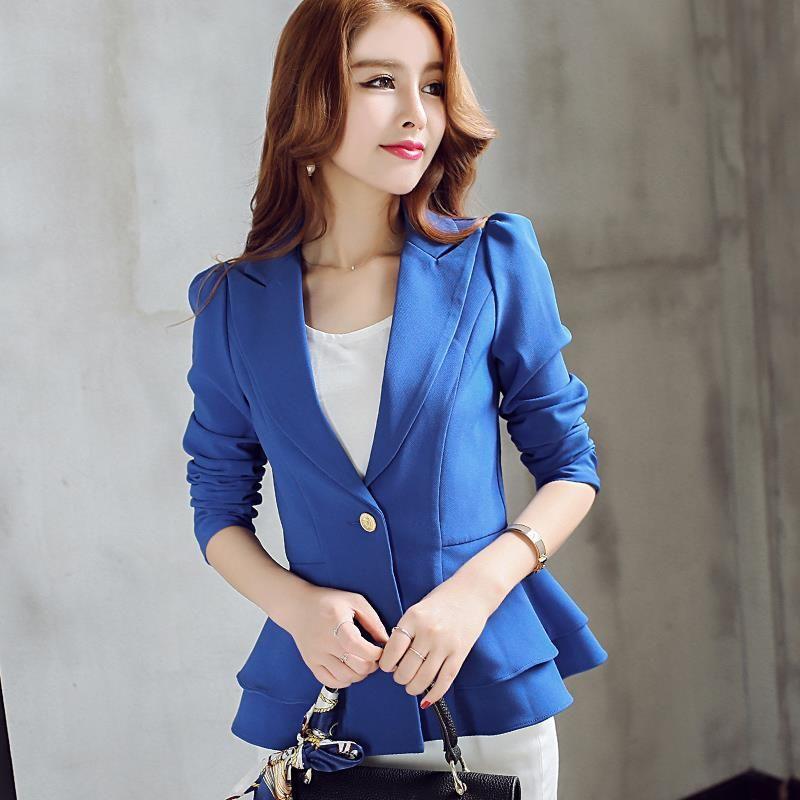 Aliexpress.com  Comprar Señorita 2016 Ruffle Royal azul Blazer mujeres  trabajo traje de manga 21a39835078c