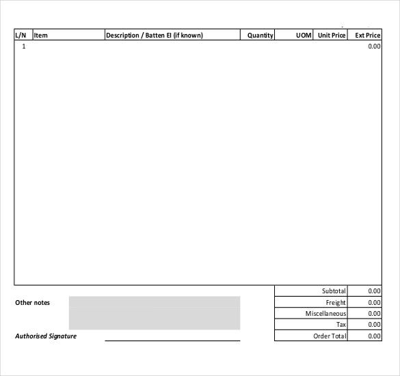 Blank Purchase Order Form Purchase Order Templates Pinterest - purchase order form template