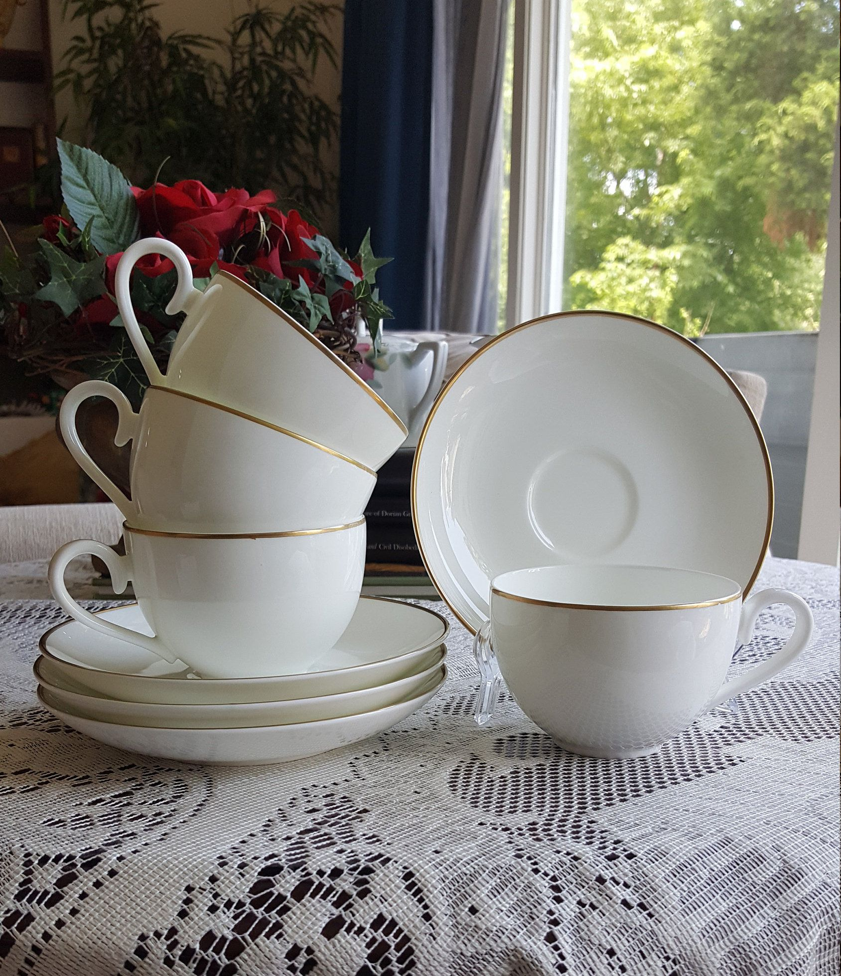 Villeroy Boch Charleston Gold China Set Of 4 Cup And Saucer Fine