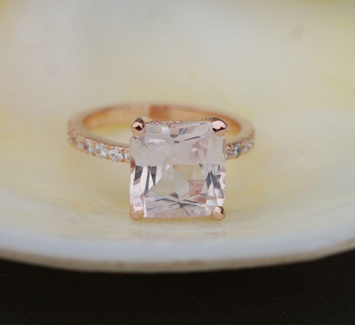 Radiant Cut Ring Peach Sapphire Engagement Square 14k Rose Gold Diamond 508ct