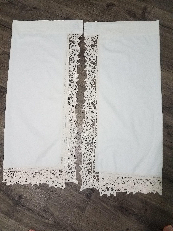 Vintage Battenburg Lace Curtains 2 Panels 36 X 29 Inch Etsy