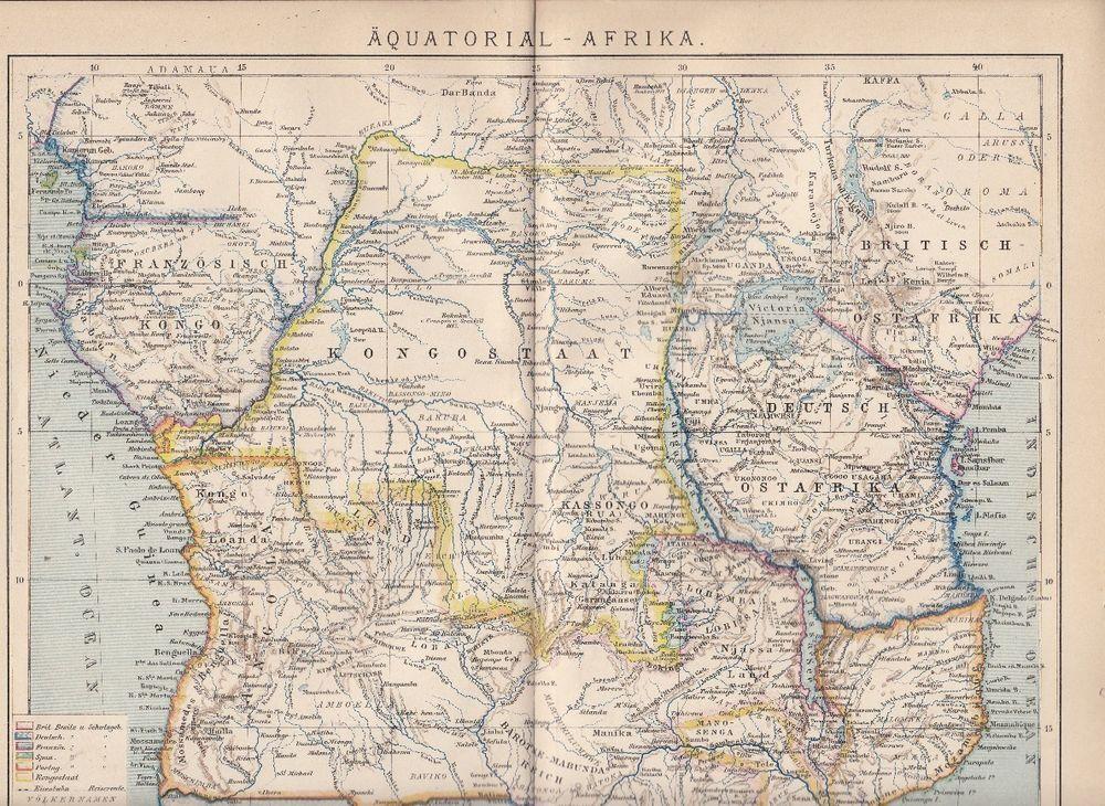 Äquatorial Afrika Karte Lithographie 1893 alte historische Landkarte
