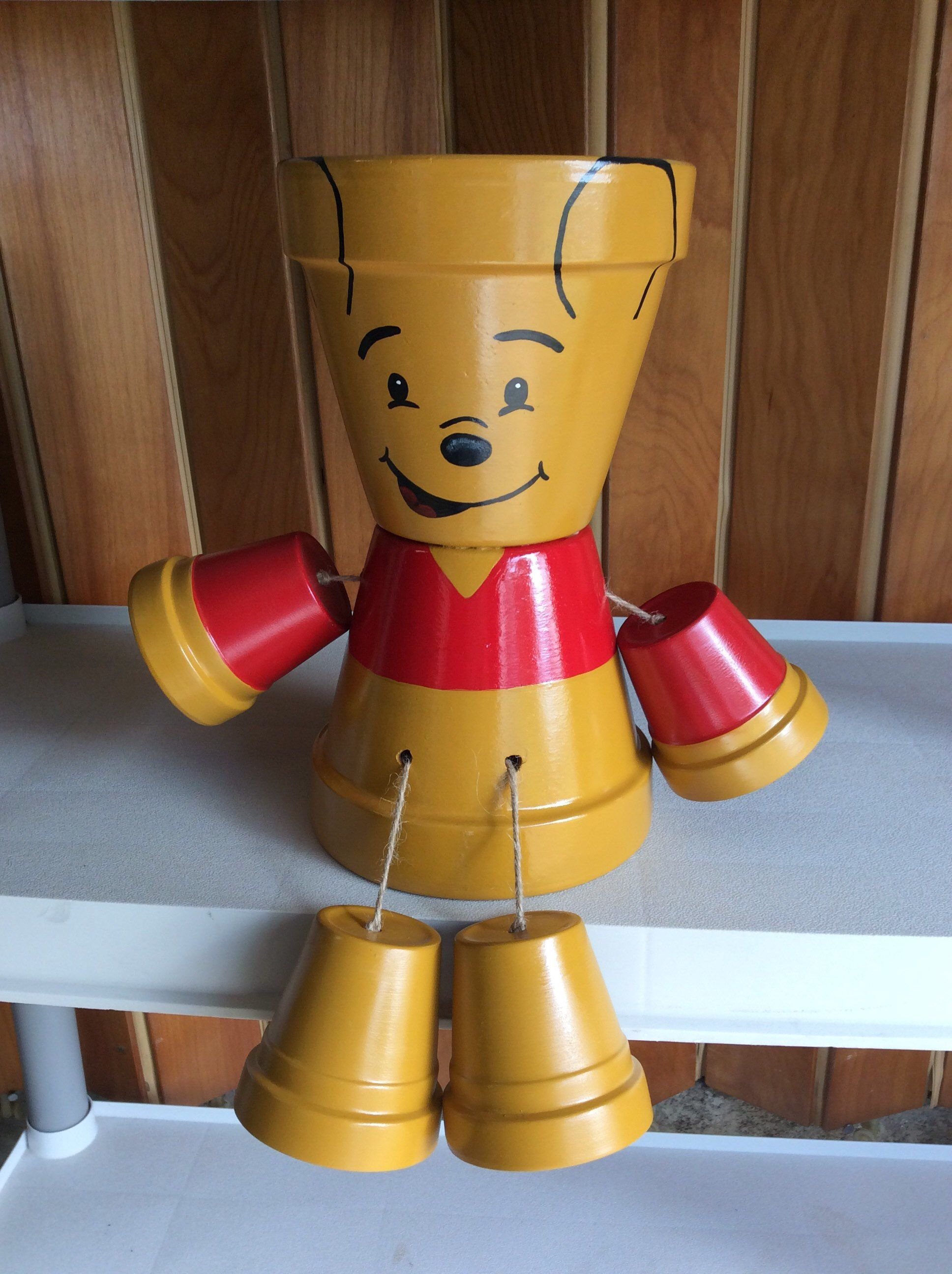 Hand Painted Winnie The Pooh Terra Cotta Plant Pots