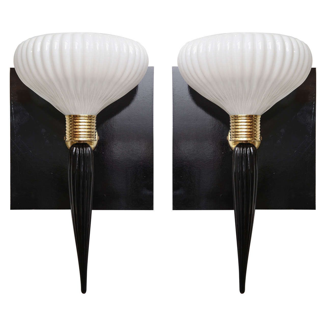 Pair of art deco murano wall sconces wall sconces modern wall and pair of art deco murano wall sconces mozeypictures Gallery