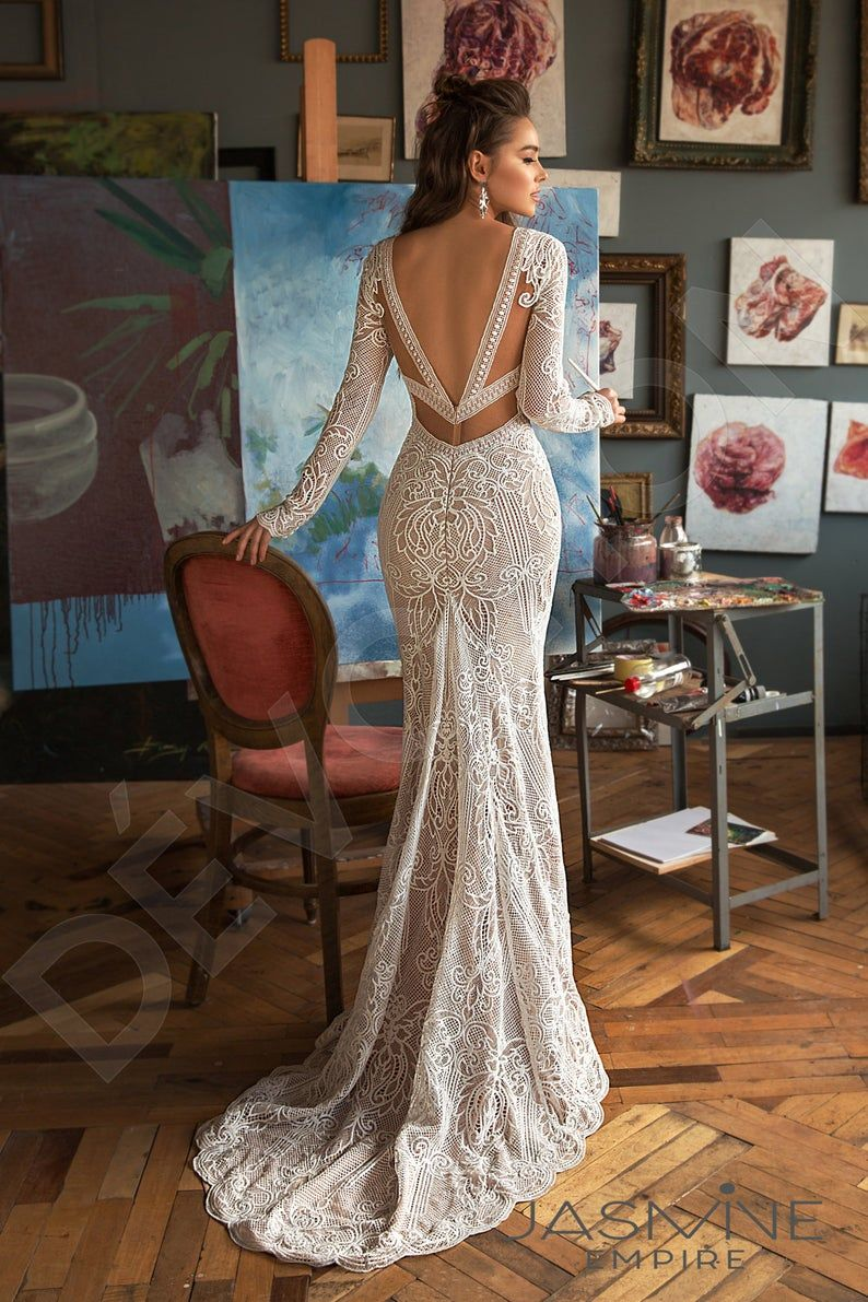 Individual size Trumpet/Mermaid silhouette Clarana wedding dress. Modern style by DevotionDresses