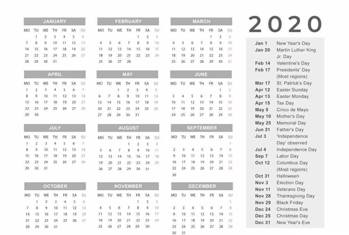 Customizable 2020 Biweekly Payroll Calendar Template Excel