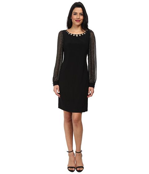 Jessica Howard Balloon Sleeve Shift Dress Black/Gold - 6pm.com