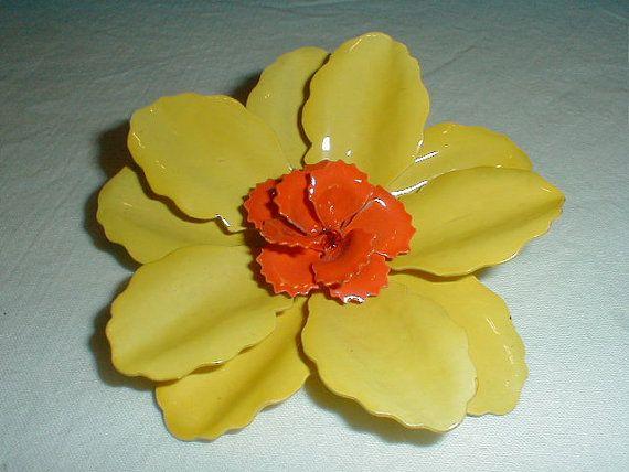 vintage enamel flower pin bright yellow by qualityvintagejewels. check www.qualityvintagejewelry.com .