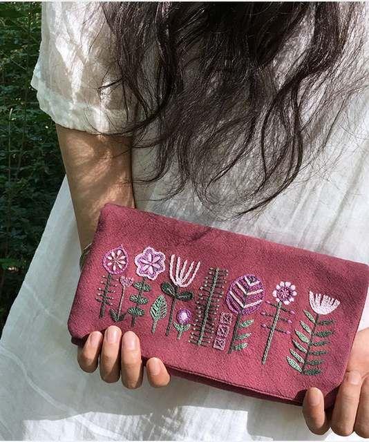 He oído la cartera de mano, bolsa de tela hecha a mano material de producción paquete estilo europeo bordado kit de cartera bordado