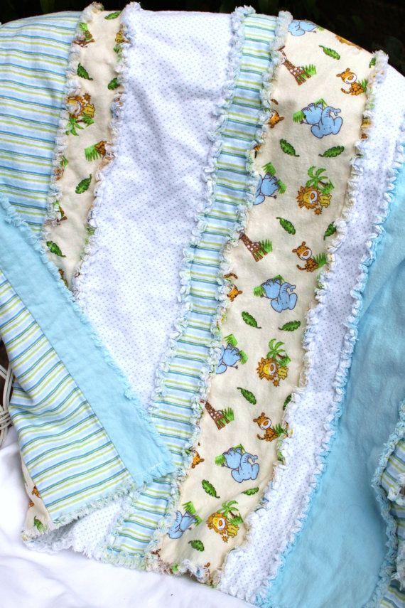 Baby Boy Flannel Rag Quilt Blanket 28 x 31 by BubbyBearBlankets, $29.00