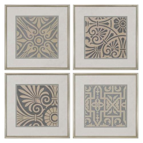 Paragon Ionian Framed Wall Art Set Of 4 Beige