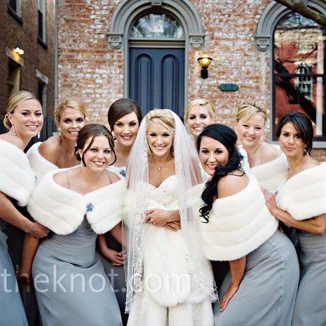 All Nine Of Brookes Bridesmaids Wore Platinum Chiffon Dresses By Badgley Mischka White Fur Wraps Winter Wedding