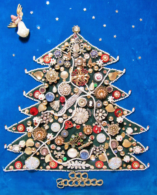 Vintage Jewelry Christmas Tree, Framed Jewelry Tree, Jewelry ...