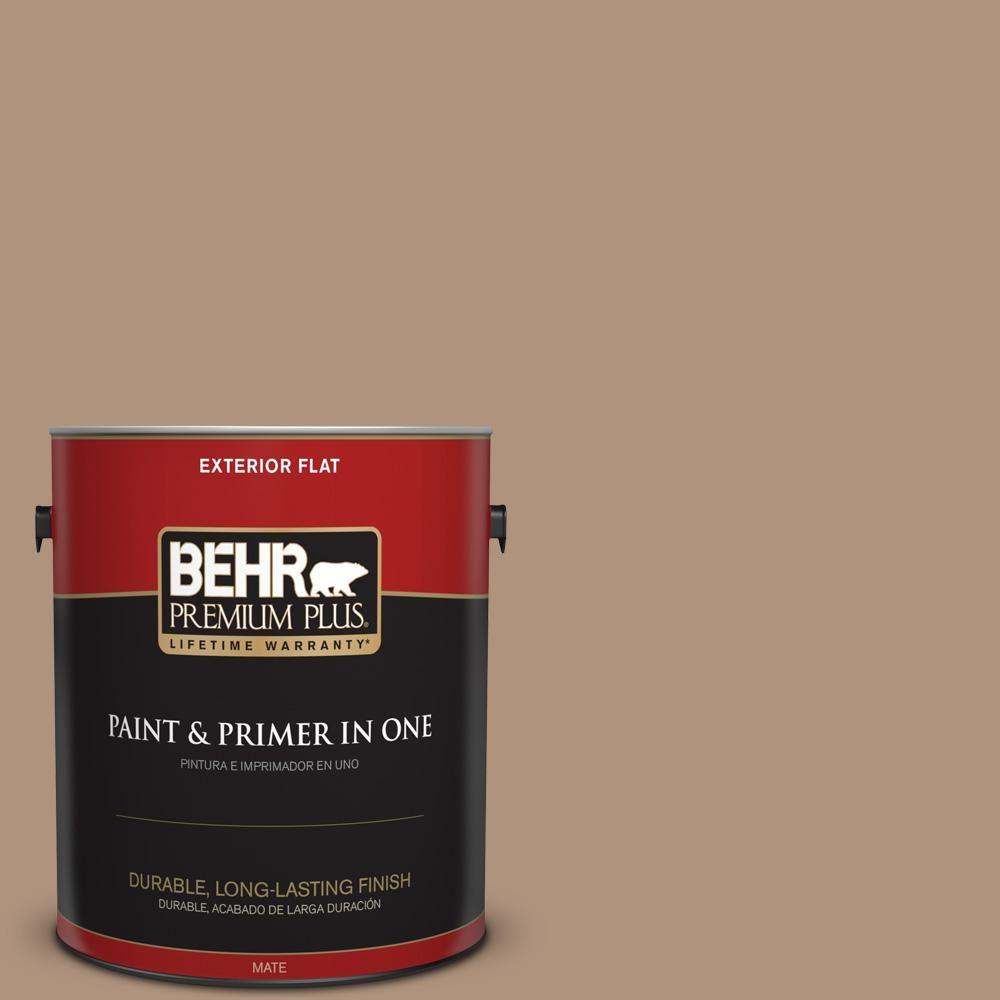 BEHR Premium Plus 1 gal. #PPU4-04 Soft Chamois Flat Exterior Paint