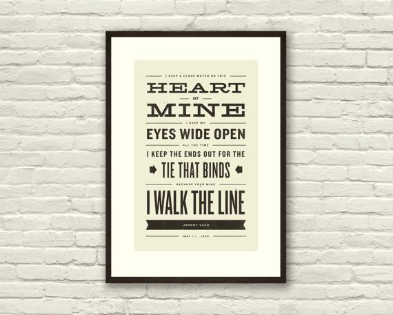 Johnny Cash Inspired Walk The Line Lyric Poster 11 X17 Typography Art Print Modern Poster Retro Home Vintage Country Music Lyric Poster Typography Art Print Retro Poster