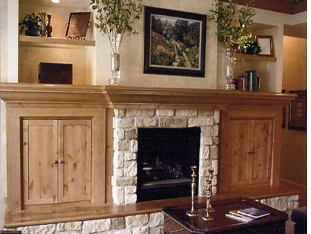 Stone Fireplace With Side Bookshelves Cabinets I