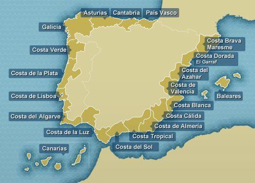 Mapa De La Costa De España Rios De España Mapa De España Paisajes De España