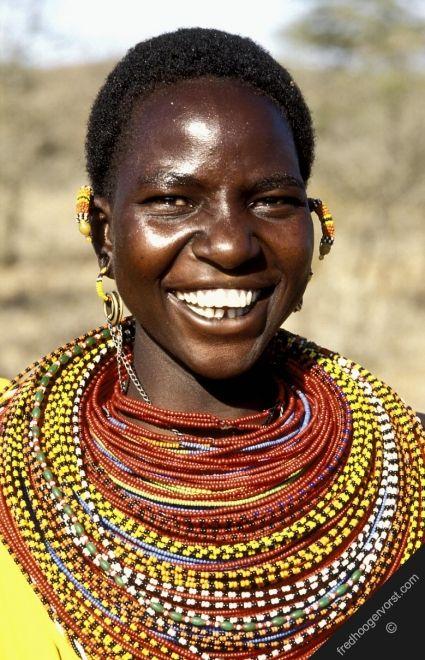 Kenya Northern Area Samburu Tribe Woman Smile Smiling