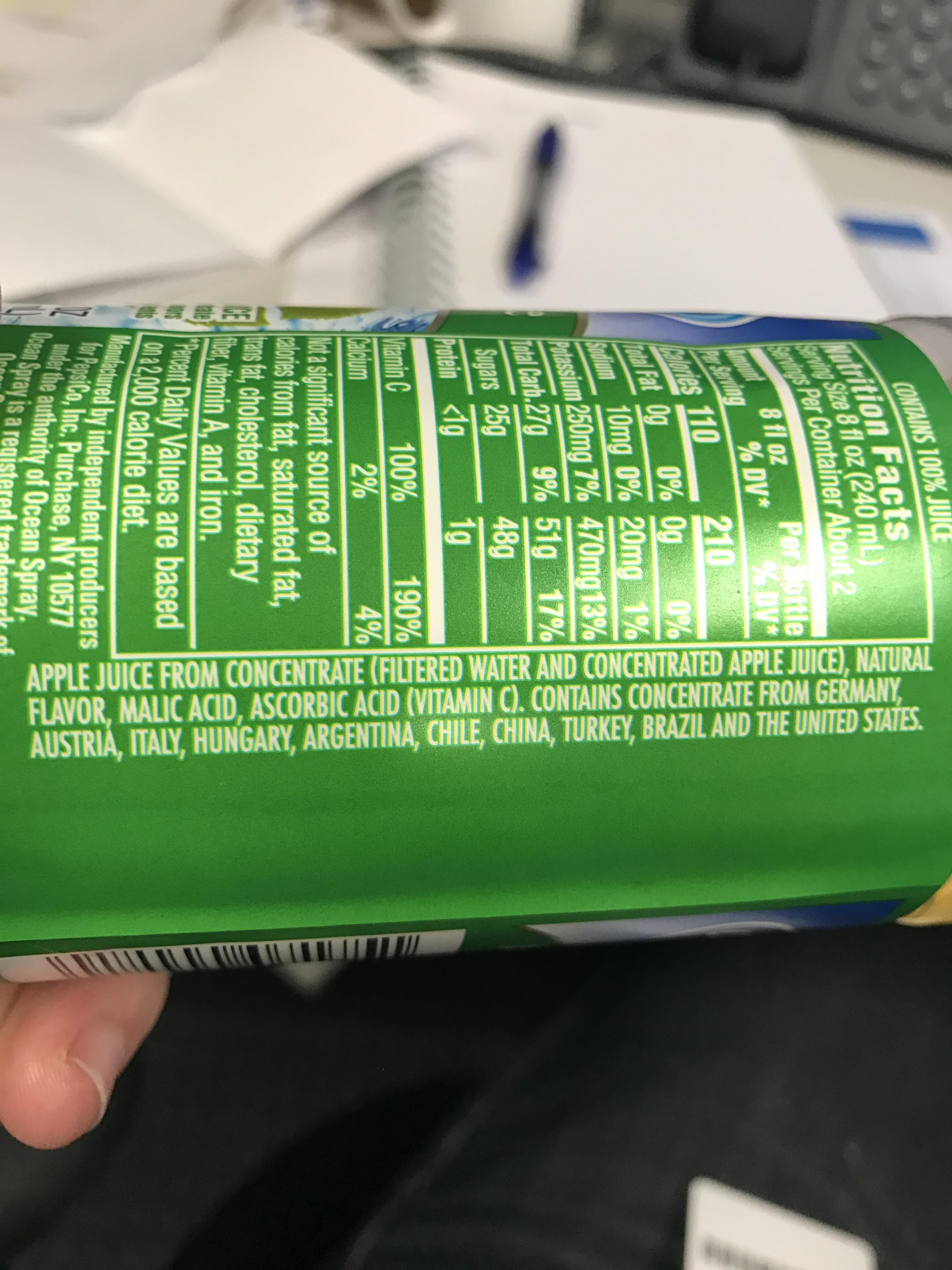 This one bottle of apple juice contains concentrate from 10 different countries.