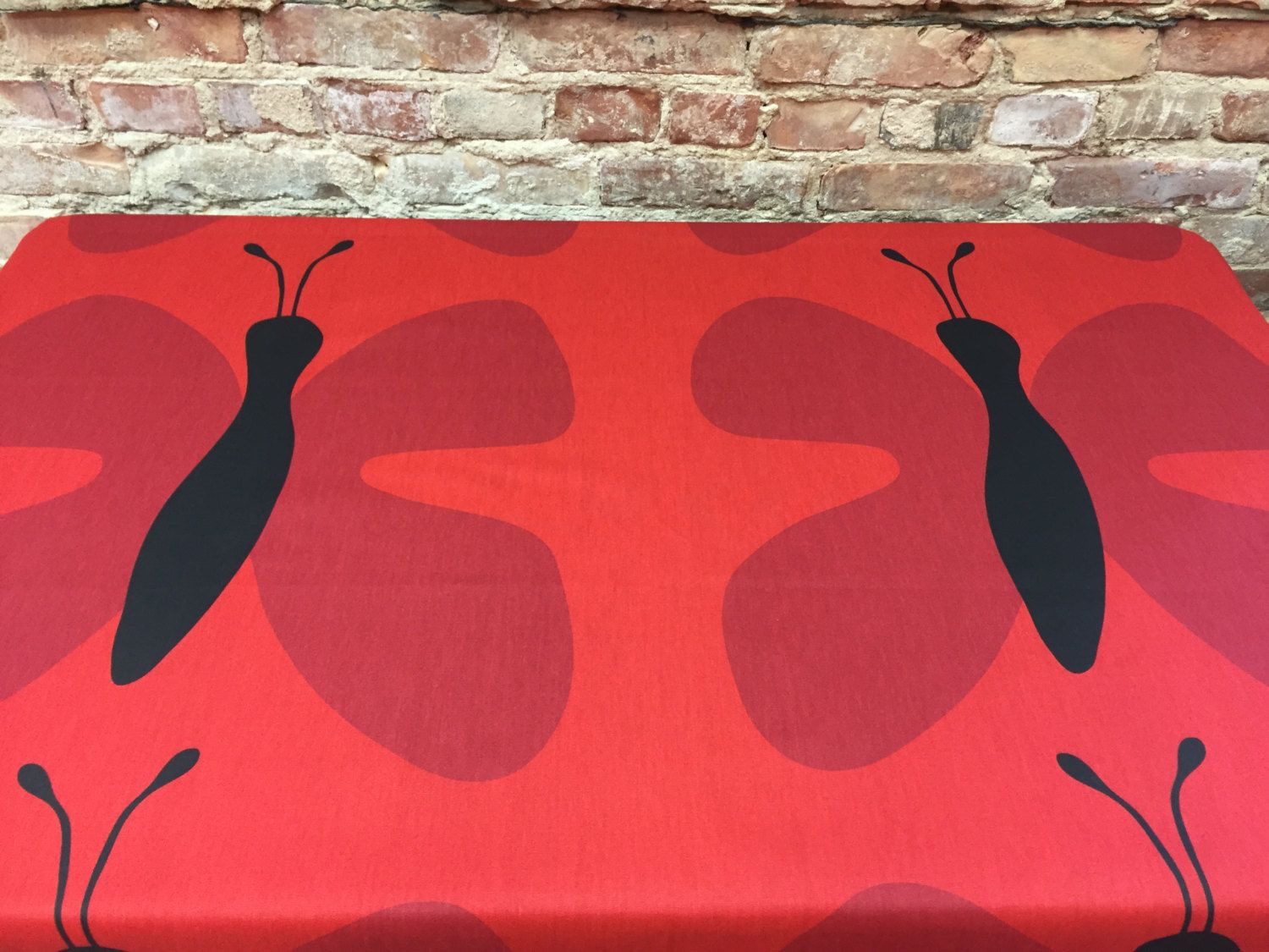 Red Tablecloth With Black And Erfly Large Modern By Sikridream On Etsy