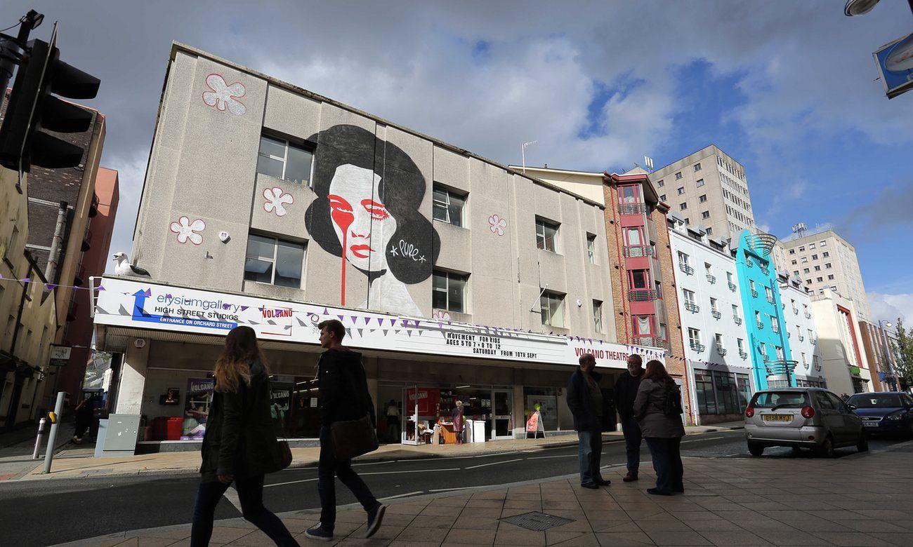 How art restarted the heart of Swansea's high street. Street artist Pure Evil's portrait of Elizabeth Taylor on the Volcano Theatre in Swansea