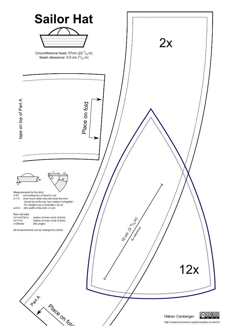 SailorHatPDF.pdf | Marinero | Pinterest | Costura, Molde y Gorros