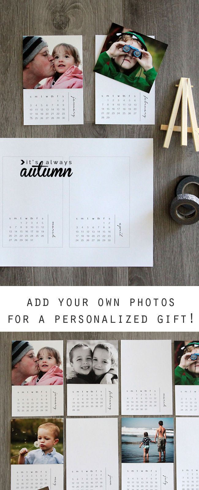 Calendar Ideas For Grandparents : Free printable mini diy photo calendar great gift