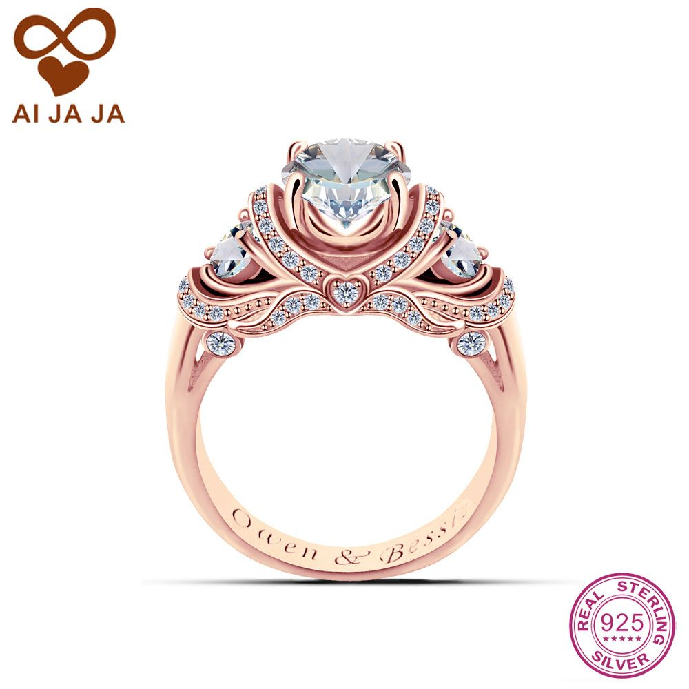 AIJAJA 925 Sterling Silver Engraved Wedding Rings Customized