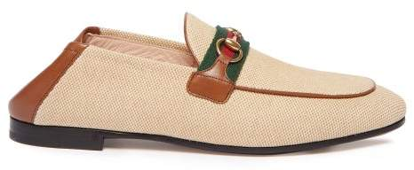 b106e91b Gucci Brixton Collapsible Heel Canvas Loafers - Womens - Tan Multi ...