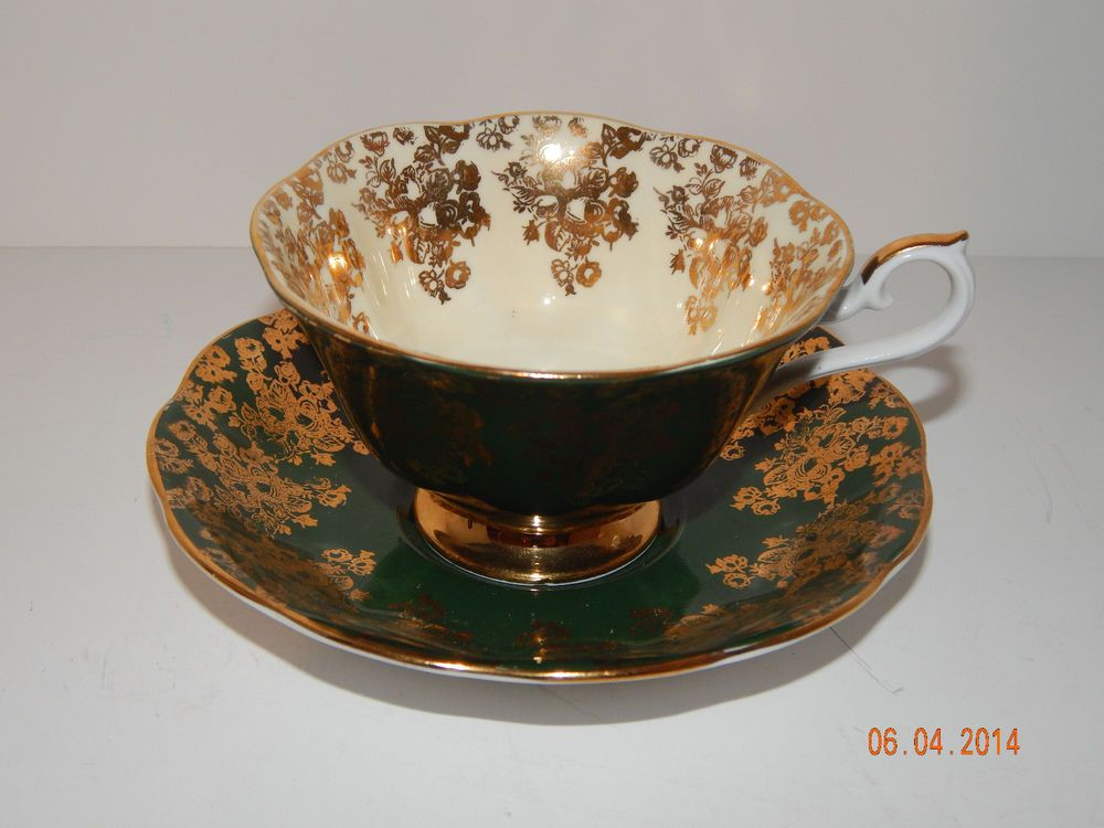 Green Pattern Royal Albert Empress Series Bone China England Cup and Saucer